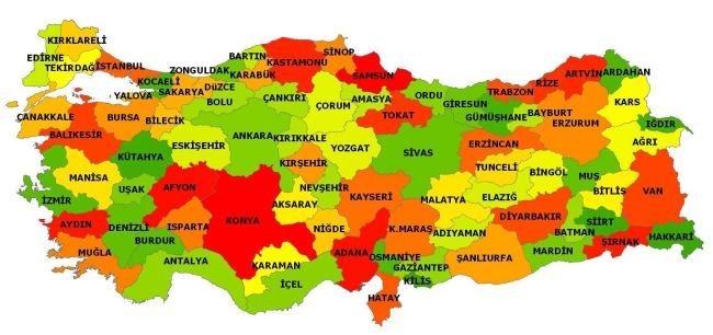 türkiye haritası büyük boy şehirler