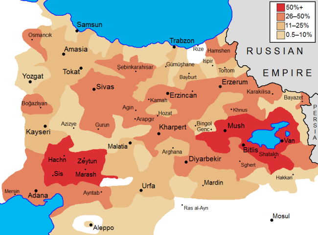 Concentrations of Armenians circa 1877